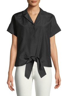 Lafayette 148 New York Sawyer Tie-Hem Button-Front Blouse