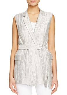 Lafayette 148 New York Scarlet Crinkled Metallic Vest