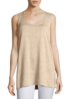 Scoop-Neck Linen Melange Tank