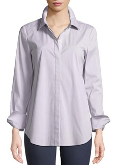 Lafayette 148 New York Scottie Button-Front Long-Sleeve Coy Striped Blouse