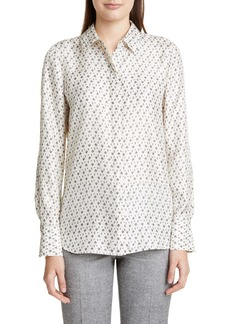 Lafayette 148 New York Scottie Geo Print Silk Blouse