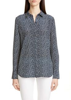 Lafayette 148 New York Scottie Mini Mesa Print Silk Shirt