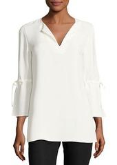 Lafayette 148 New York Sela Drawstring-Sleeve Silk Blouse