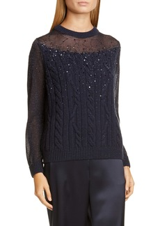 Lafayette 148 New York Sequin Mesh & Cable Knit Cashmere Blend Sweater