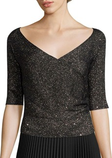 Lafayette 148 Sequin Off-The-Shoulder Wrap Sweater