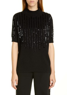 Lafayette 148 New York Sequin Stripe Cashmere Sweater