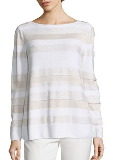 Lafayette 148 New York Sequin Striped Sweater