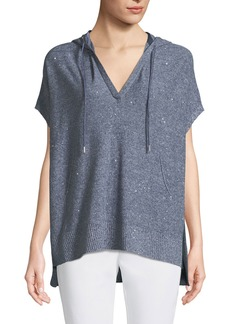Lafayette 148 Sequined Mouline Oversized Short-Sleeve Hoodie