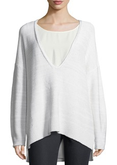 Lafayette 148 New York Sequined Silk Sweater w/ Tank