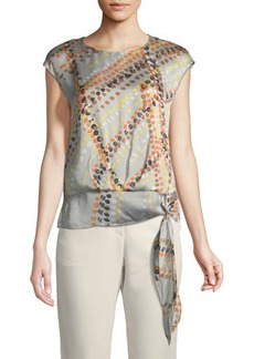 Lafayette 148 New York Seraphina Garden-Print Tie-Hem Silk Blouse