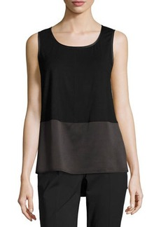 Lafayette 148 New York Shasta Sleeveless Scoop-Neck Blouse