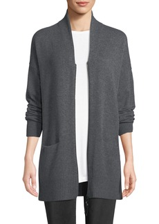 Lafayette 148 New York Plus Size Shawl-Collar Zip-Front Cashmere Cardigan