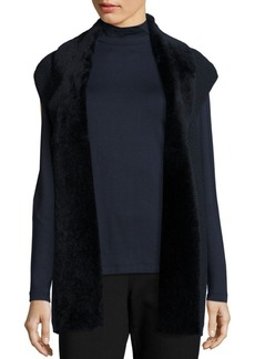 Lafayette 148 New York Shearling Collar Cashmere Blend Cap Sleeve Vest