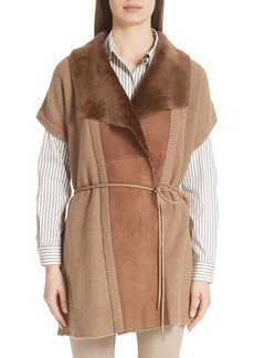 Lafayette 148 New York Shearling Trim Wool & Cashmere Vest (Nordstrom Exclusive)