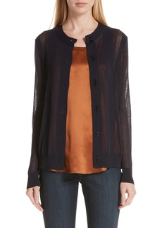 Lafayette 148 New York Sheer Stripe Cardigan