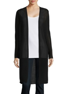 Lafayette 148 New York Sheer Striped Long Cardigan