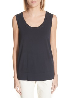 Lafayette 148 New York Sheer Trim Matte Crepe Tank