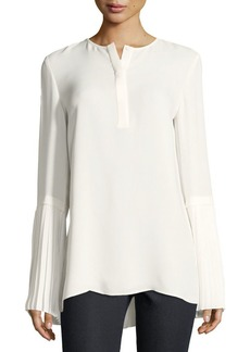 Lafayette 148 New York Shellie Pleated-Cuff Blouse