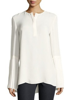 Lafayette 148 Shellie Pleated-Cuff Blouse