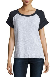 Lafayette 148 New York Short-Sleeve Colorblock Raglan Sweater