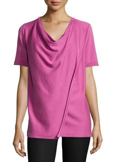 Lafayette 148 New York Short-Sleeve Draped-Front Cardigan