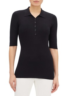 Lafayette 148 New York Short-Sleeve Fitted Rib-Knit Polo Sweater