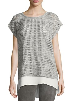 Lafayette 148 Short-Sleeve Open-Stitch Sequin Cashmere Sweater