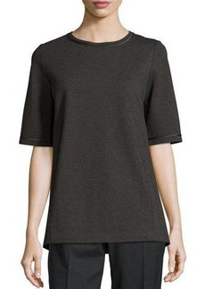 Lafayette 148 New York Short-Sleeve Relaxed Faux-Leather Trim Top