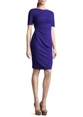 Lafayette 148 New York Short-Sleeve Side-Ruched Dress