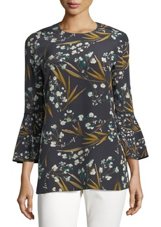 Lafayette 148 New York Sidra 3/4-Bell-Sleeve Moody Floral Silk Blouse