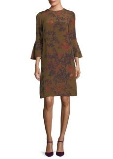 Lafayette 148 Sidra Bell-Sleeve Garden Floral Silk Dress