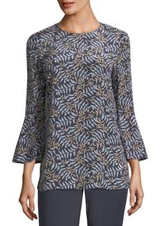 Lafayette 148 Sidra Fern-Print Silk Blouse
