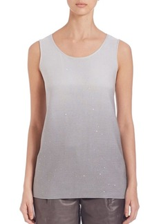 Lafayette 148 New York Silk and Cotton Sequin Ombré Tank Top