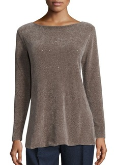 Lafayette 148 New York Silk Chenille Sequin Sweater