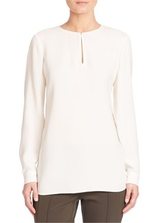 Lafayette 148 New York Silk Double Georgette Cryus Blouse