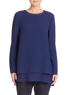 Lafayette 148 New York Silk Double Georgette Reece Blouse