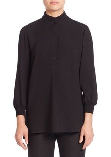 Lafayette 148 New York Declan Silk Double Georgette Three-Quarter Sleeve Blouse