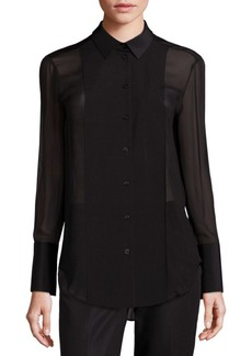Lafayette 148 New York Silk Georgette Jersey Combo Carly Blouse
