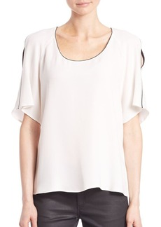 Lafayette 148 New York Silk Kalia Cold Shoulder Blouse
