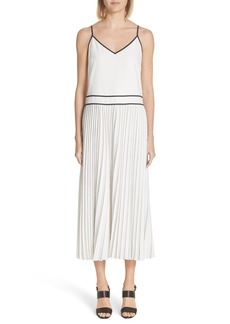 Lafayette 148 New York Silk Pleated Skirt Midi Dress