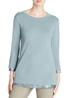Lafayette 148 New York Silk Trim Cashmere Sweater