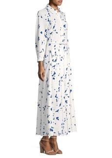 Lafayette 148 Siya Painterly Silk Shirt Dress