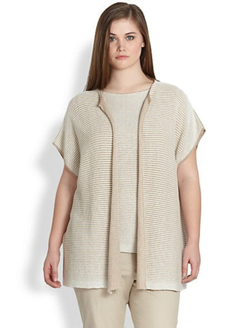 Lafayette 148 New York, Plus Size Oversized Open Vest