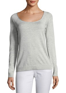 Lafayette 148 Skinny Scoop-Neck Silk-Blend Sweater