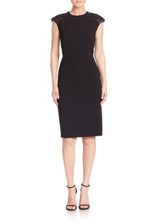 Lafayette 148 New York Sleek Tech Cloth Lace Inset Talon Dress