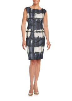 Lafayette 148 New York Sleeveless Chevron Textured Sheath Dress