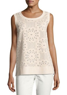 Lafayette 148 New York Sleeveless Lace Top w/ Faux Leather Trim
