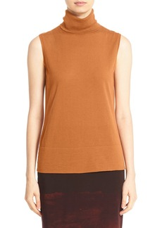 Lafayette 148 New York Sleeveless Rib Knit Wool Turtleneck