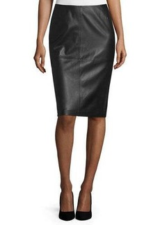 Lafayette 148 New York Slim Leather Midi Skirt