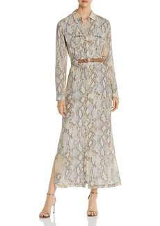 Lafayette 148 New York Snake-Print Maxi Shirt Dress